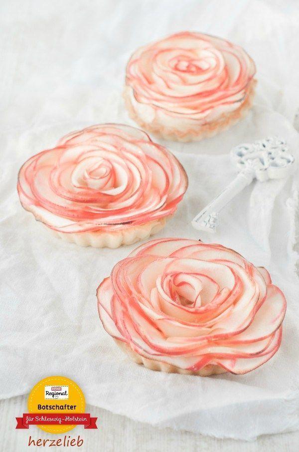 Apfelrosen-Tartelettes Rezept – Kuchen mit Marzipan #apfelrosenrezept Dieses A...