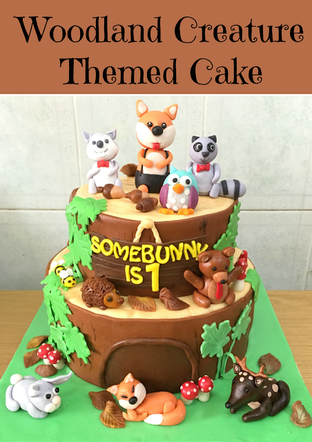 Woodland Creature Theme 1st Birthday Cake