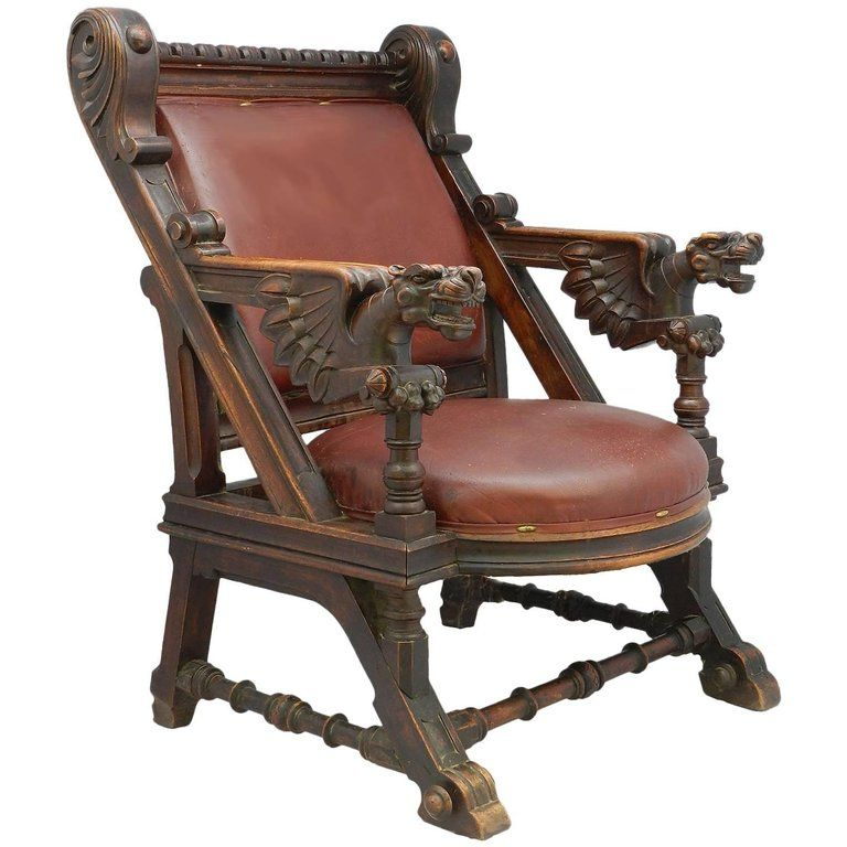 Throne Desk Chair 19th Century Renaissance Carved Dragons Spanish Leather In 2020 Throne Chair Desk Chair Medieval Furniture