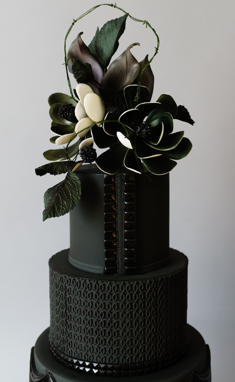 Sleek Modern Dark Bathroom With Glossy Tiled Walls: Sleek And Modern Black On Black Wedding Cake With Black