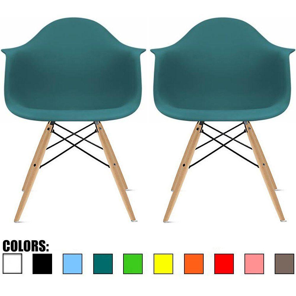 Amazon.com: 2xhome - Set of Two (2) White - Eames Style Armchair ...