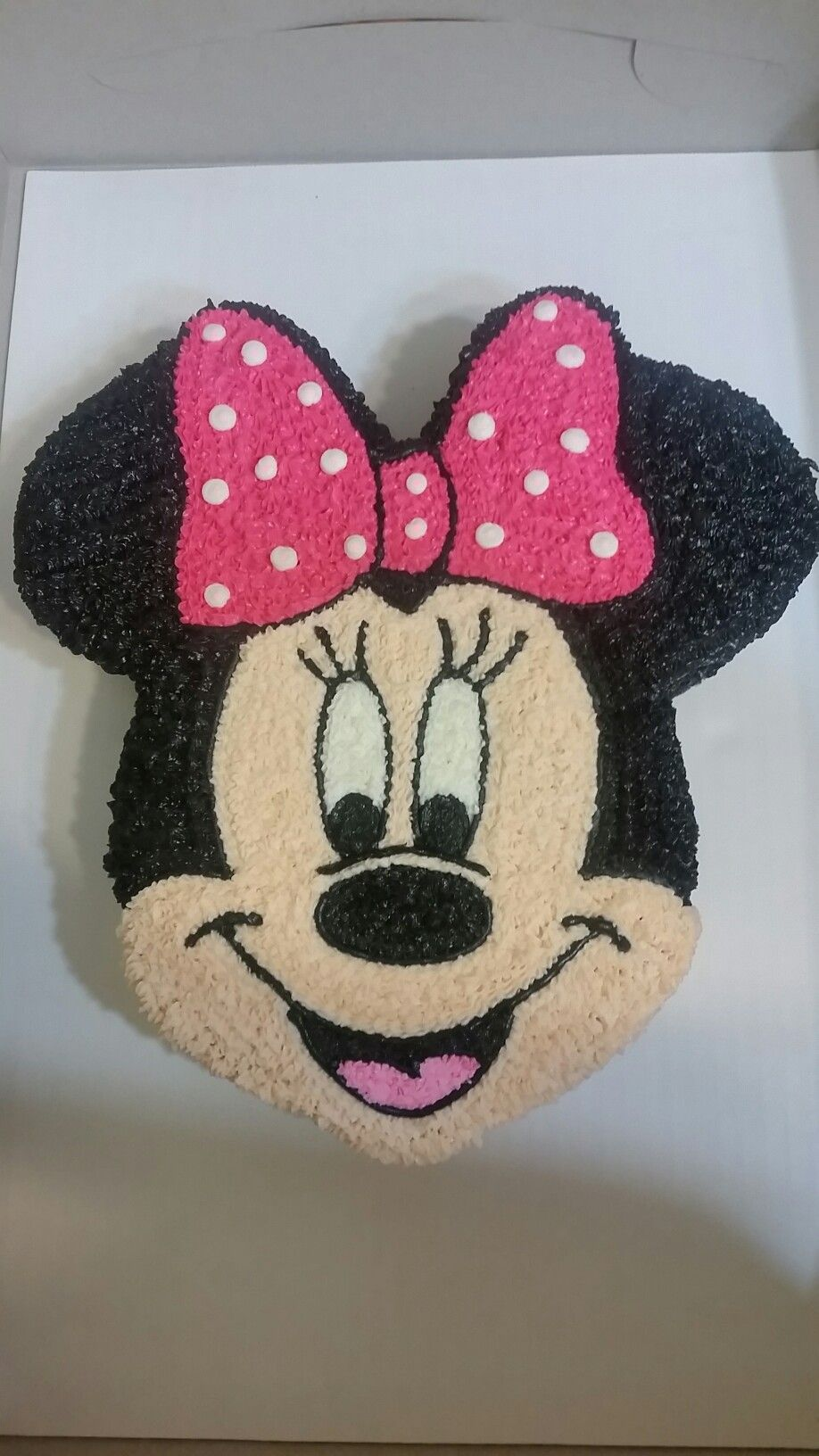 Minnie mouse face cake i used a template and placed it for Minnie mouse cake template free