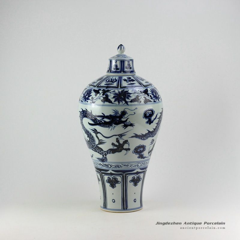 Ming Reproduction Blue And White Dragon Mei Vase With Lid