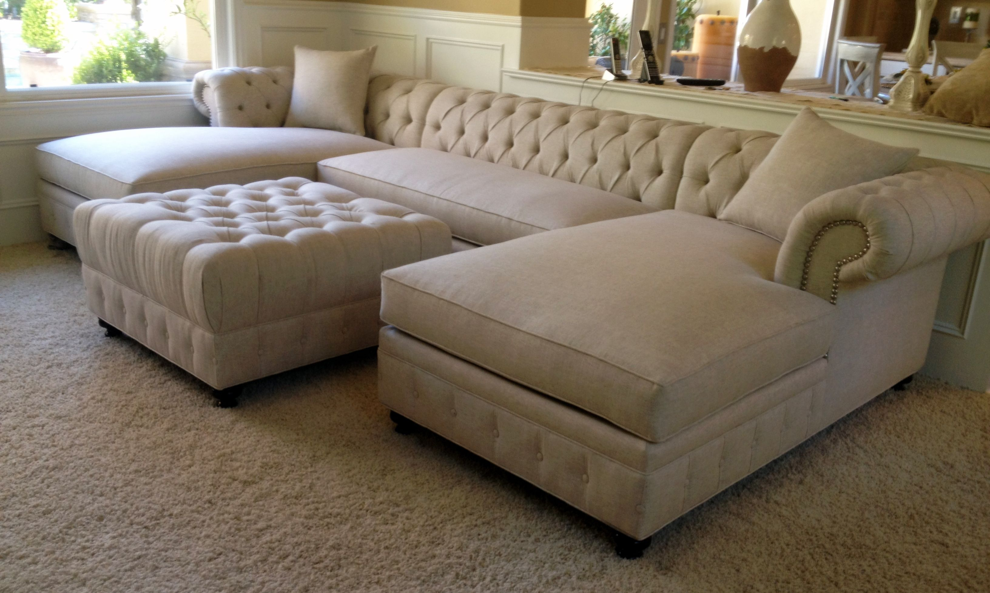 Kenzie Style Custom Chesterfield Sofa Or Sectional Leather Or