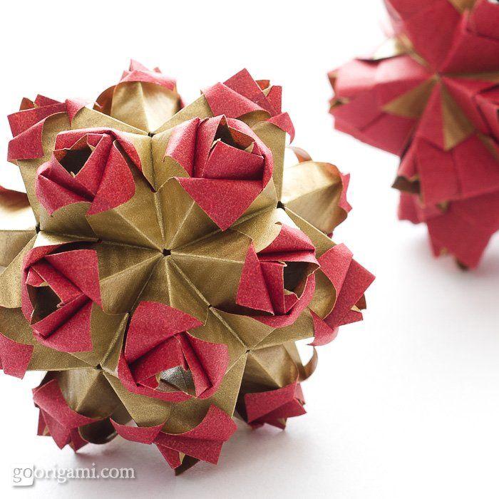 modular origami ball little roses kusudama designed and folded by rh pinterest com little roses kusudama instructions Festival Kusudama Diagrams