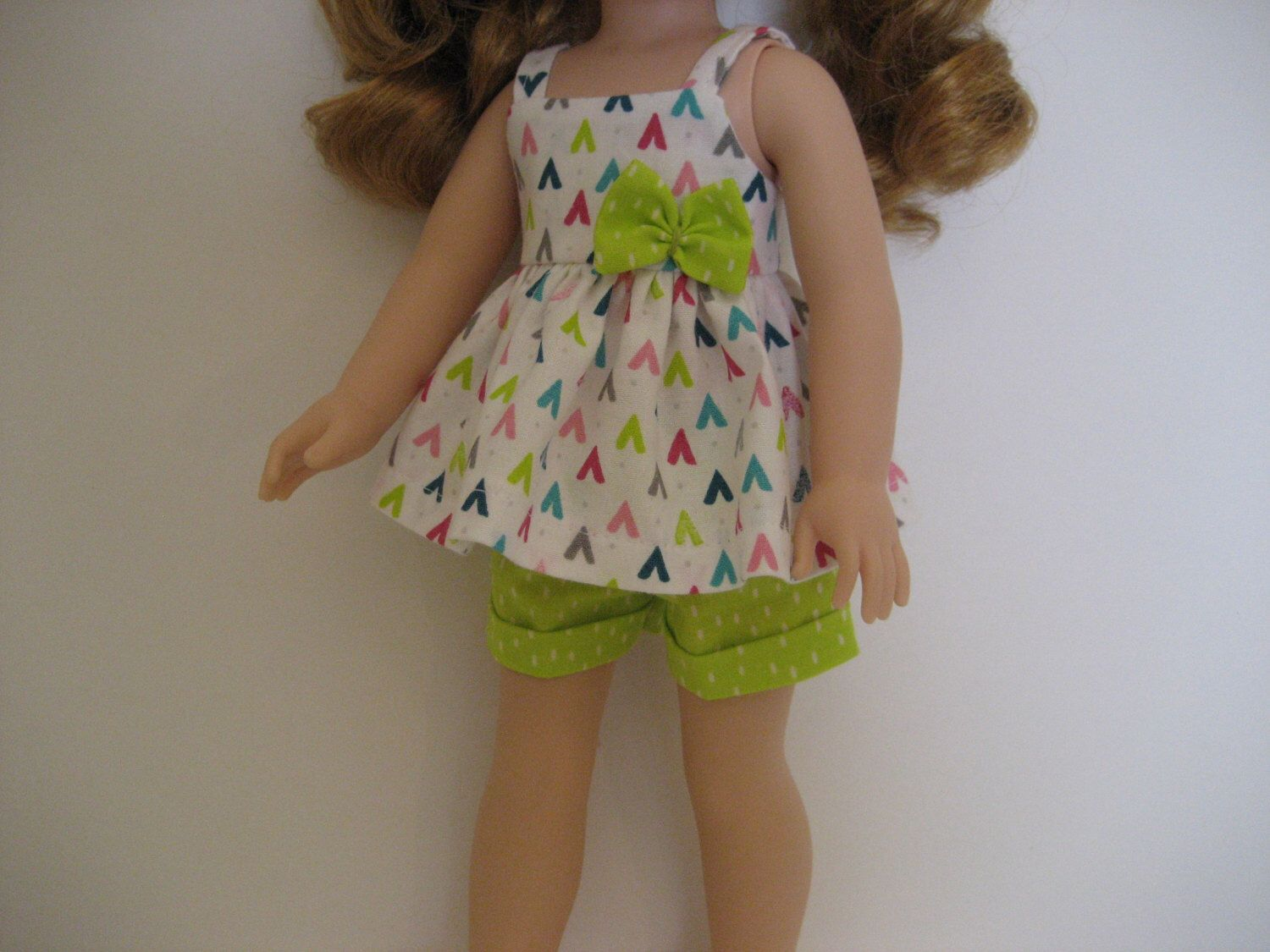14.5 Inch Doll Clothes - Tiny Teepees Shorts Outfit made to fit dolls such as Wellie Wishers doll clothes by TinyClothesline on Etsy https://www.etsy.com/listing/475038716/145-inch-doll-clothes-tiny-teepees