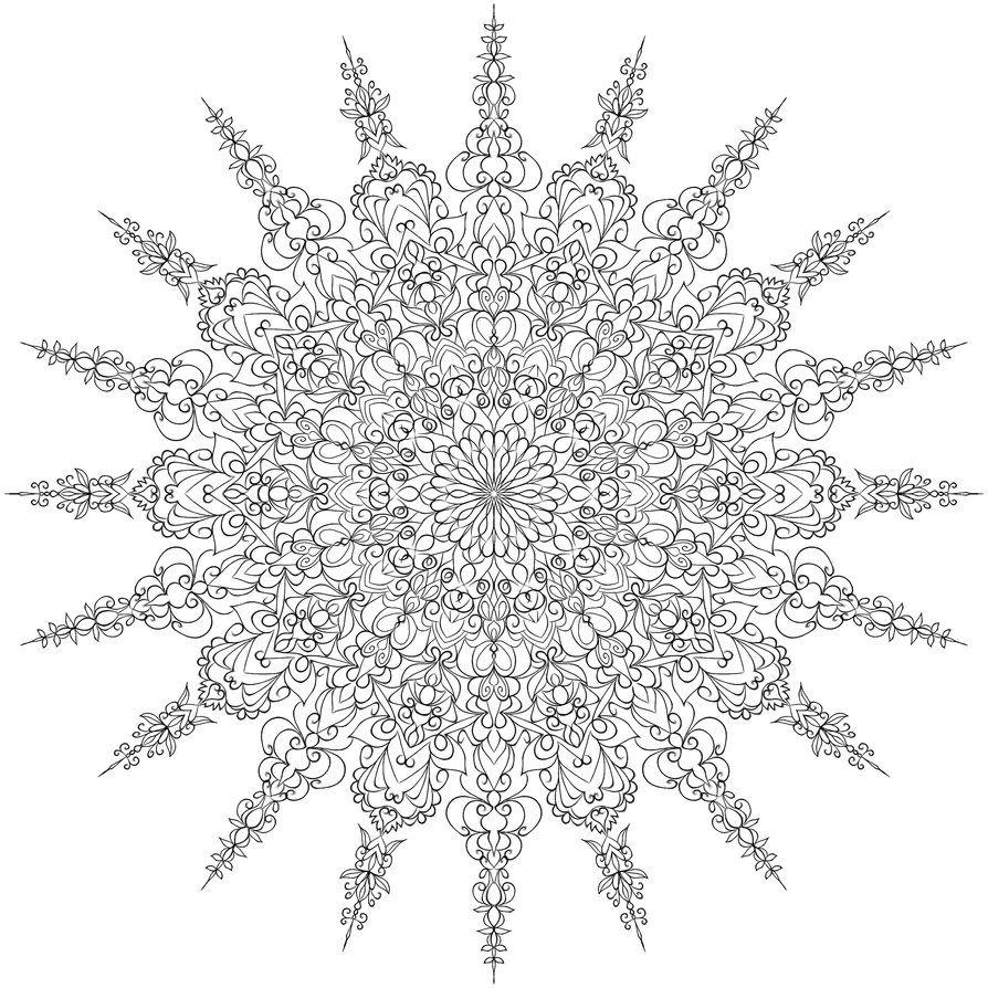 coloring page mandala snowflake coloreando pinterest