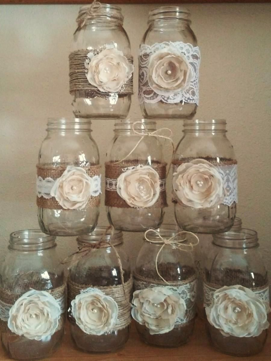 These Rustic Mason Jar Ideas Are Great For Barn Yard Wedding These Wedding Decorations A Lace Mason Jars Mason Jar Decorations Wedding Centerpieces Mason Jars