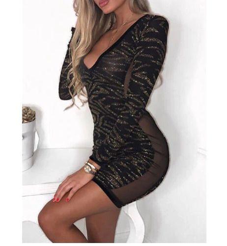 Ohvera Sequin Tassel Dress Women Spaghetti Strap Bodycon