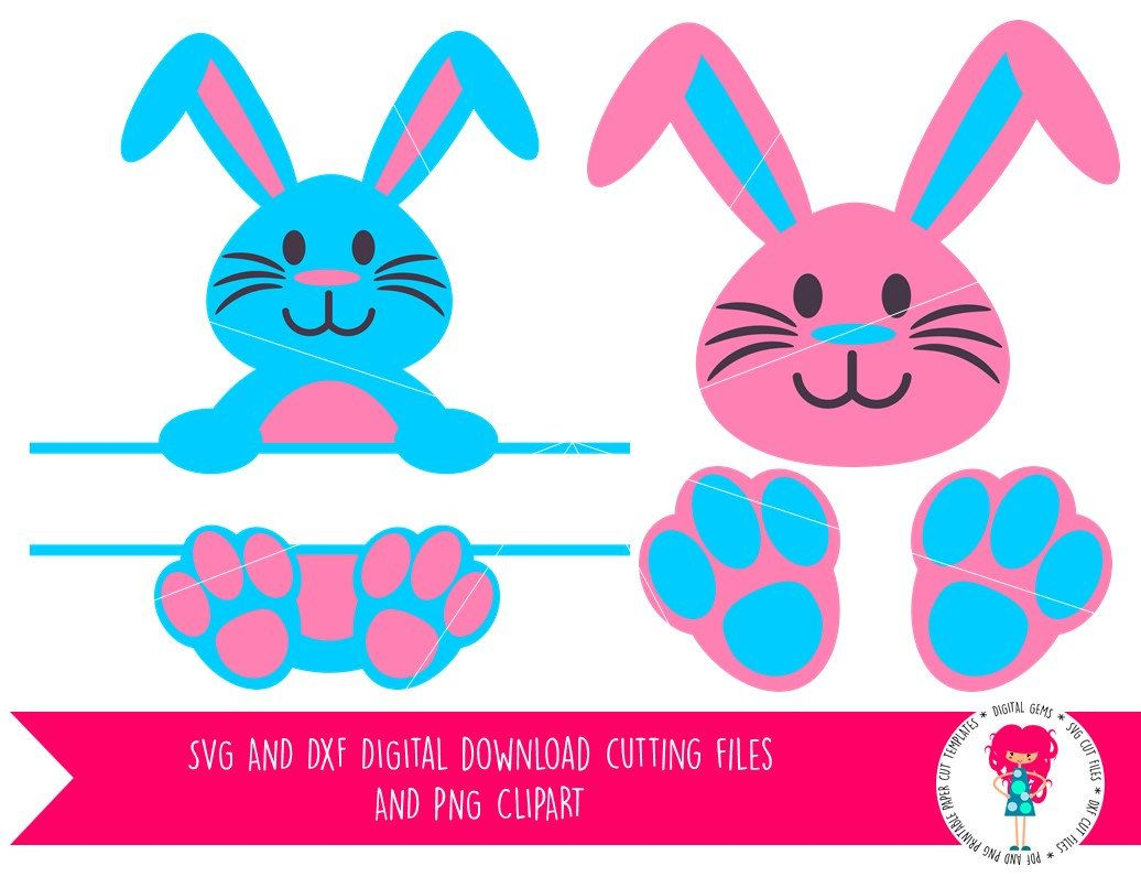 Easter Bunny Rabbit FaceHead Silhouette Vector Image with SVG png pdf Instant Digital Download eps and jpg pdf