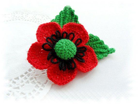 Crochet Brooch - Red Poppy Flower - Red Glitter Flower - Large ...