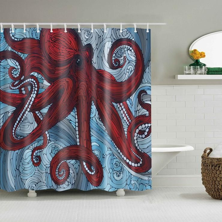 Line Drawing Art Colossal Red Octopus Shower Curtain Bathroom