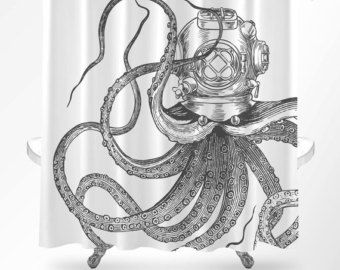 Octopus Shower Curtain Nautical Bathroom Decor Scuba