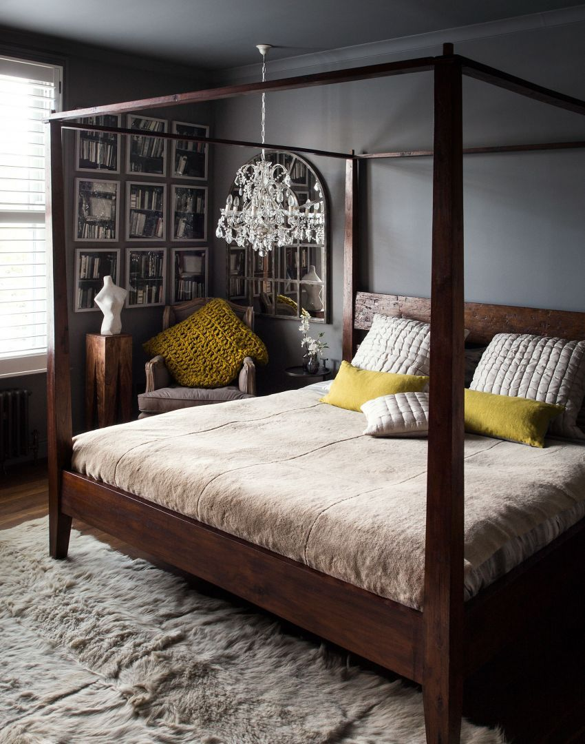 Dark atmospheric bedroom with four poster bed and low chandelier bedroom eyes pinterest - Bedspreads for four poster beds ...