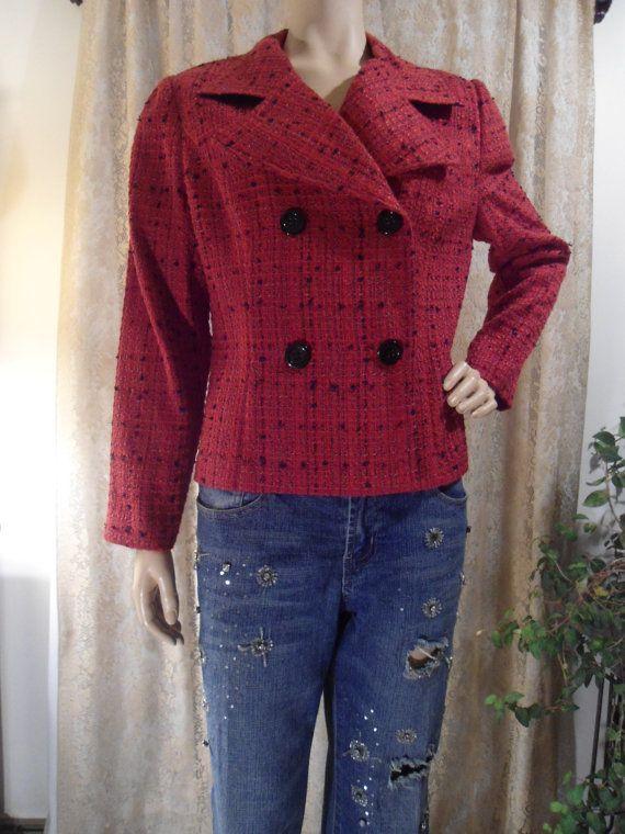 Size 10 Large Red Plaza South Cropped Jacket Blazer Short Blazer Boxy Shoulder Pads Black Tweed Coat Mod 60's Double Breasted Large Buttons by LandofBridget
