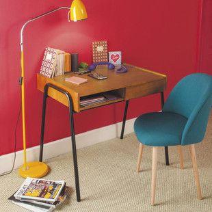 Petrolblauer Stuhl im Vintage-Stil und Massivbirke ...