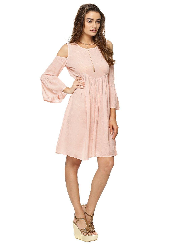 15cee05078e0 Buy KOOVS Frill Sleeve Cold Shoulder Swing Dress For Women - Women's Pink  Skater Dresses Online in India
