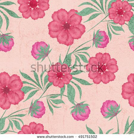 Floral Seamless Pattern Cute Red Flowers Beige Vintage Background For Printing On Fabric
