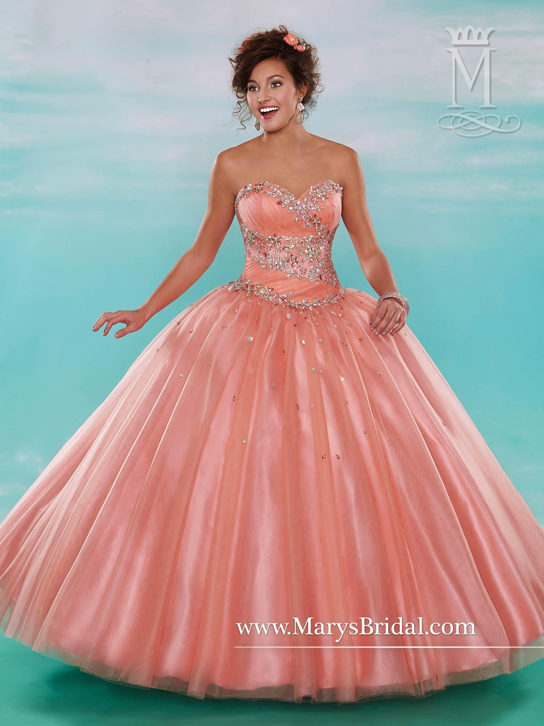 Mary\'s Peach Sorbet Quinceanera Dresses 2015 Winter Sweetheart Neck ...