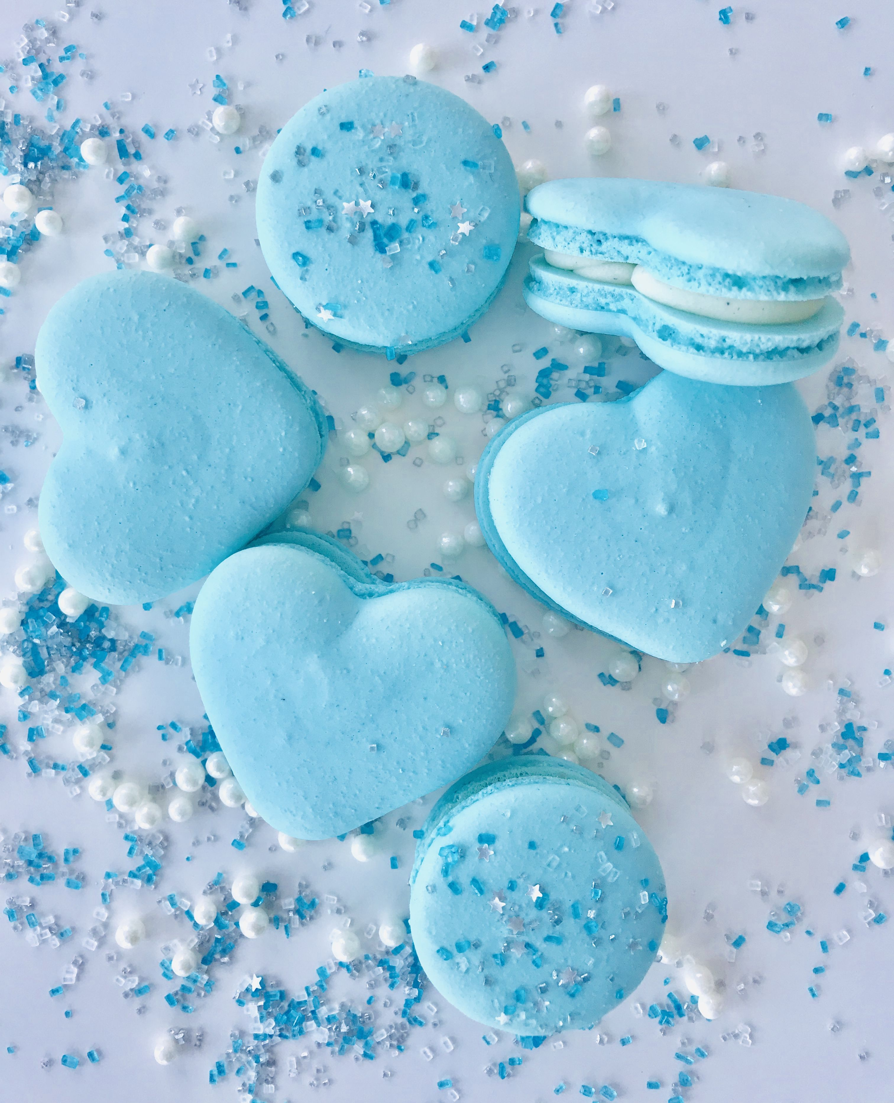Blue Hearts Macarons Baby Blue Aesthetic Blue Aesthetic Pastel Cute Blue Wallpaper Aesthetic wallpaper blue heart