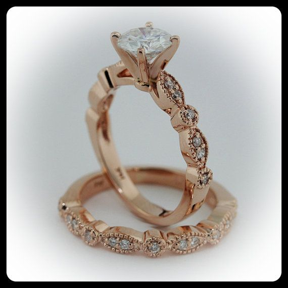 Rose Gold Wedding Set Vintage Style Engagement Ring And Wedding Band