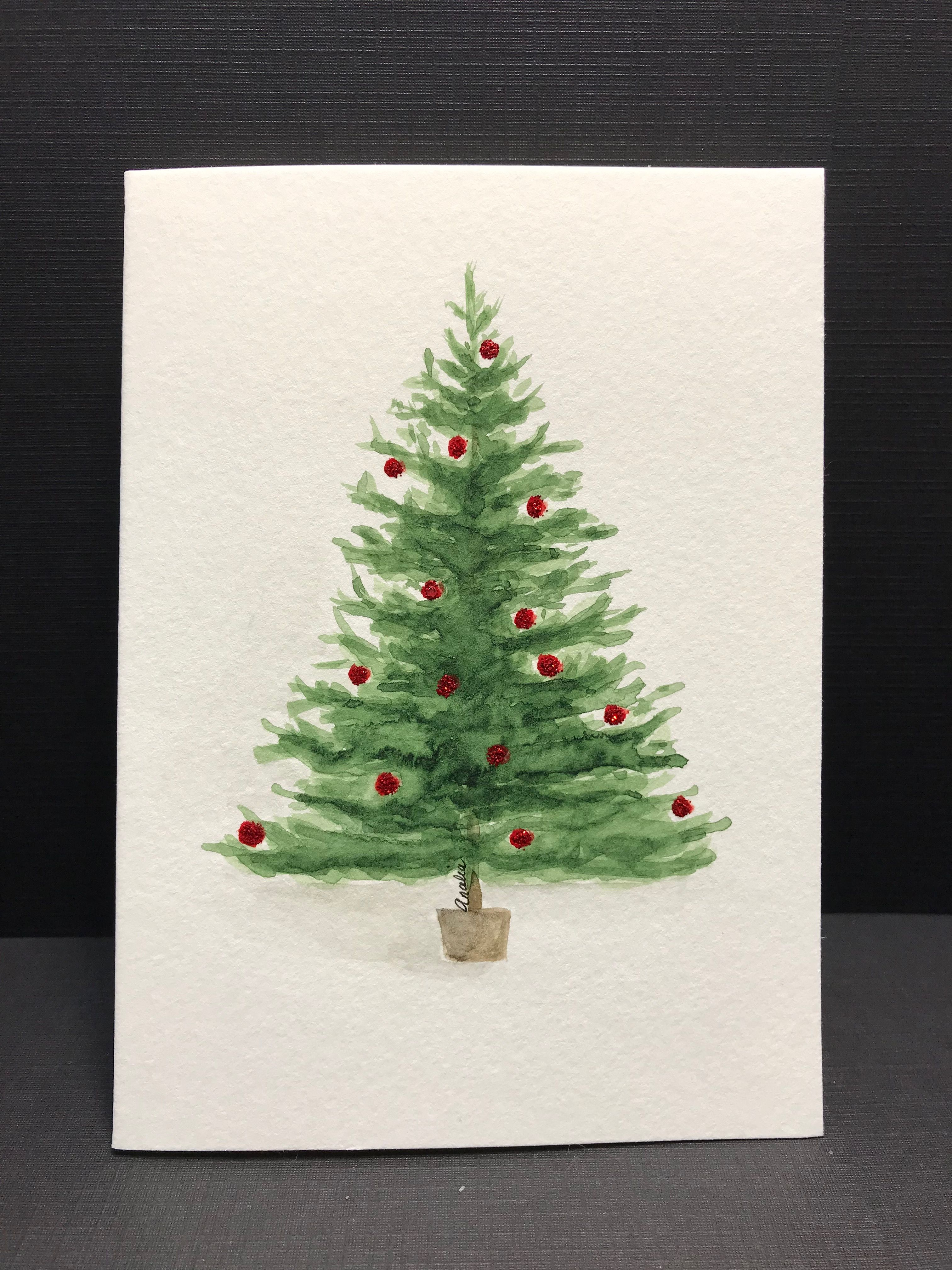 Christmas Tree Watercolour By Analia Painted Christmas Cards