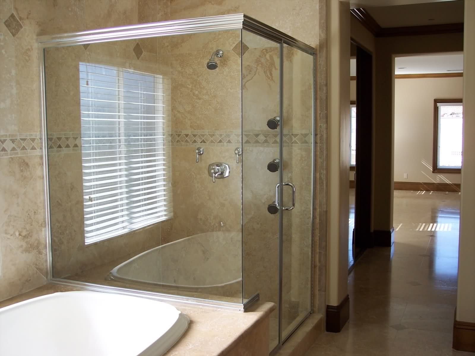 Example of framless shower door against tub | For the Home ...