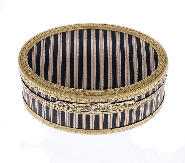 A LOUIS XVI GOLD AND TORTOISESHELL OVAL SNUFF BOX of alternate bright cut and engraved stripes divided by lines of tortoiseshell in guilloche borders, scroll chased thumbpiece, 7cm w, indistinct maker's mark