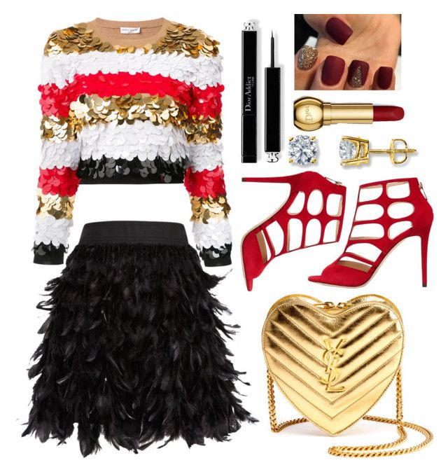 """Untitled #1366"" by ainara26 ❤ liked on Polyvore featuring Jimmy Choo, Sonia Rykiel, Alice + Olivia and Yves Saint Laurent"
