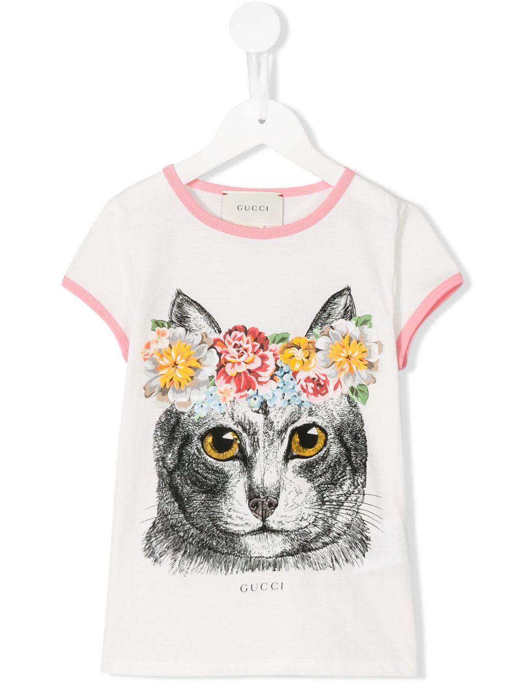 Gucci Kids 고양이 프린트 티셔츠  9333f0545