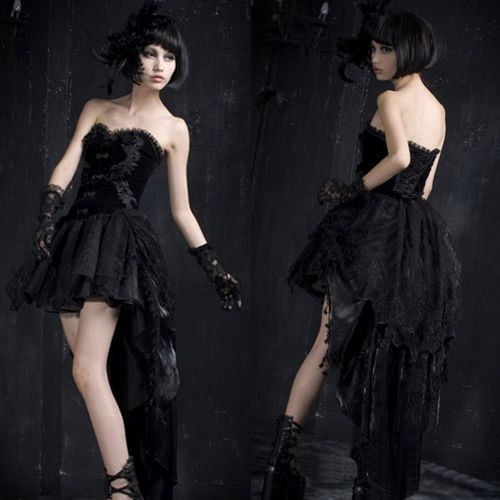 Short Gothic Wedding Dress Victorian Vampire Strapless Tea Length Corset