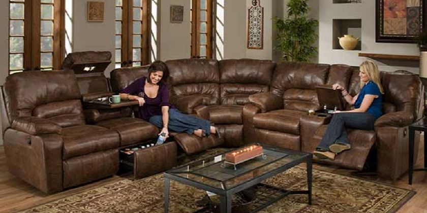 double reclining sofa with center drop