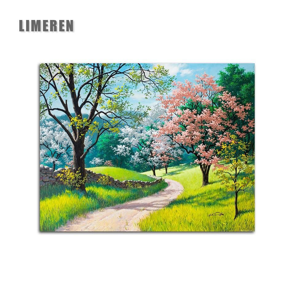 Spring Natural Scene Diy Digital Painting Pictures Handpainted On Canvas Painting By Number For Unique Gift Livi Nature Paintings Acrylic Painting Art Painting