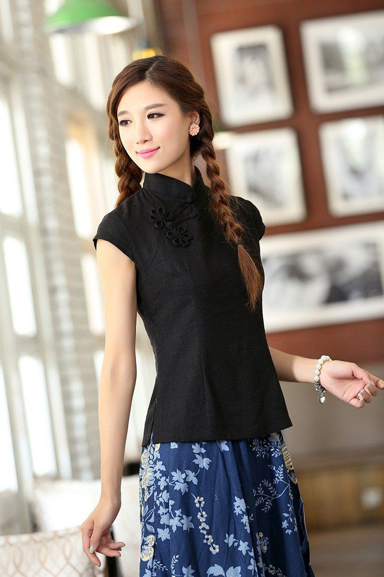 Black Linen Chinese Blouse