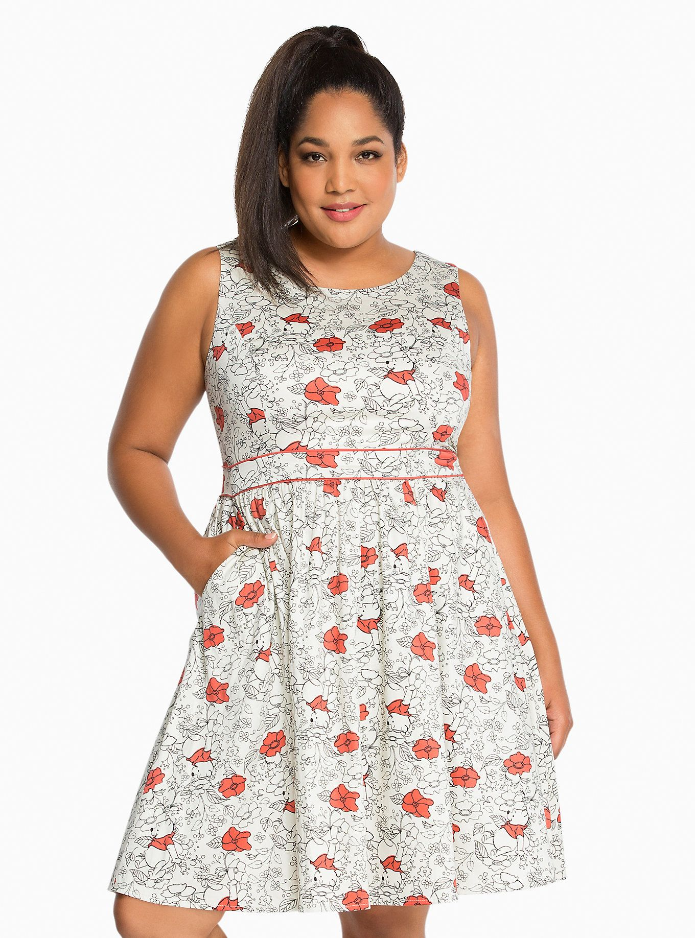929341f71b64 <p>The cutest dress you'll find this side of the Hundred Acre Wood! The  skater style is adorable with a red and white Winnie the Pooh floral print.