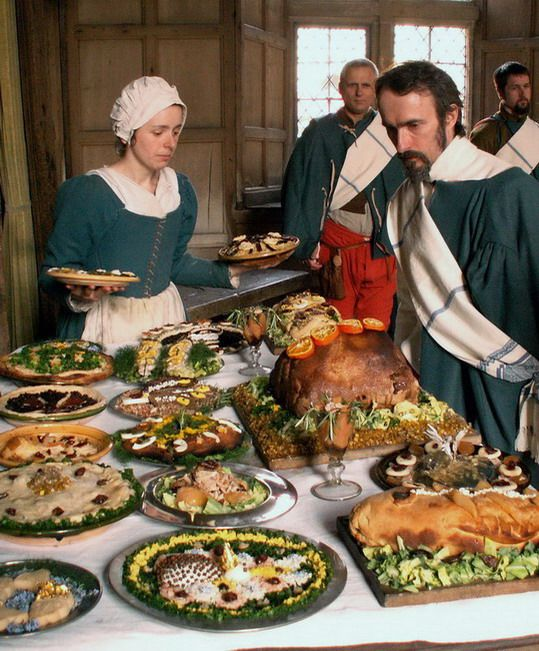 A Re-enactment Of A Tudor Feast. Courtesy Of The Tudor