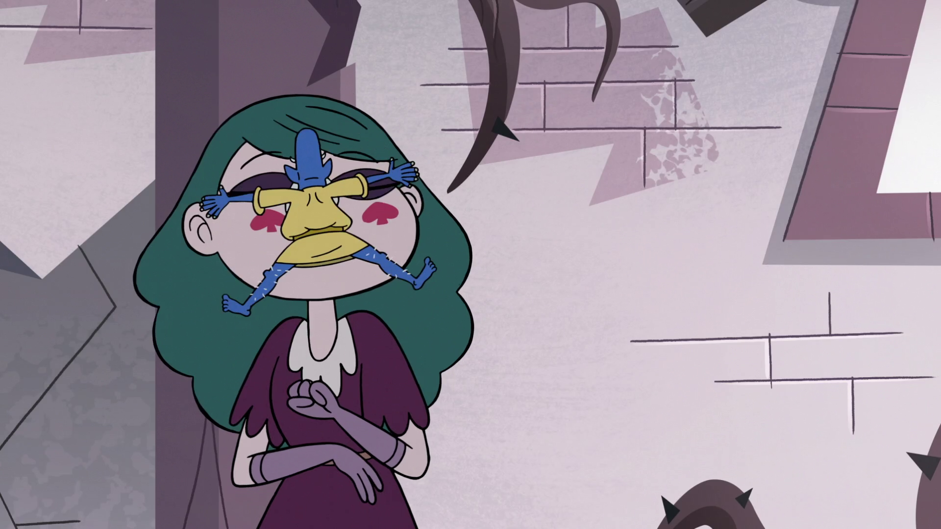 S3e11 Glossaryck Jumps Onto Eclipsa S Face Star Butterfly Force Of Evil Queen Eclipsa