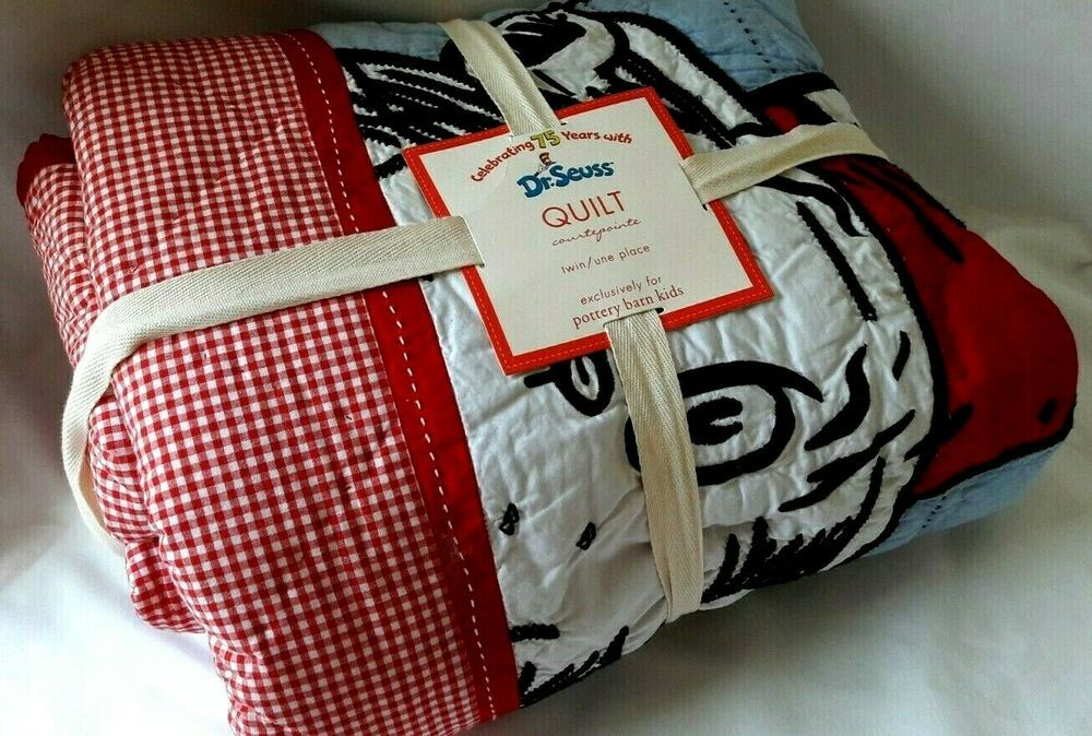 Dr Seuss Cat Hat Quit Twin Blanket Pottery Barn Kids Red
