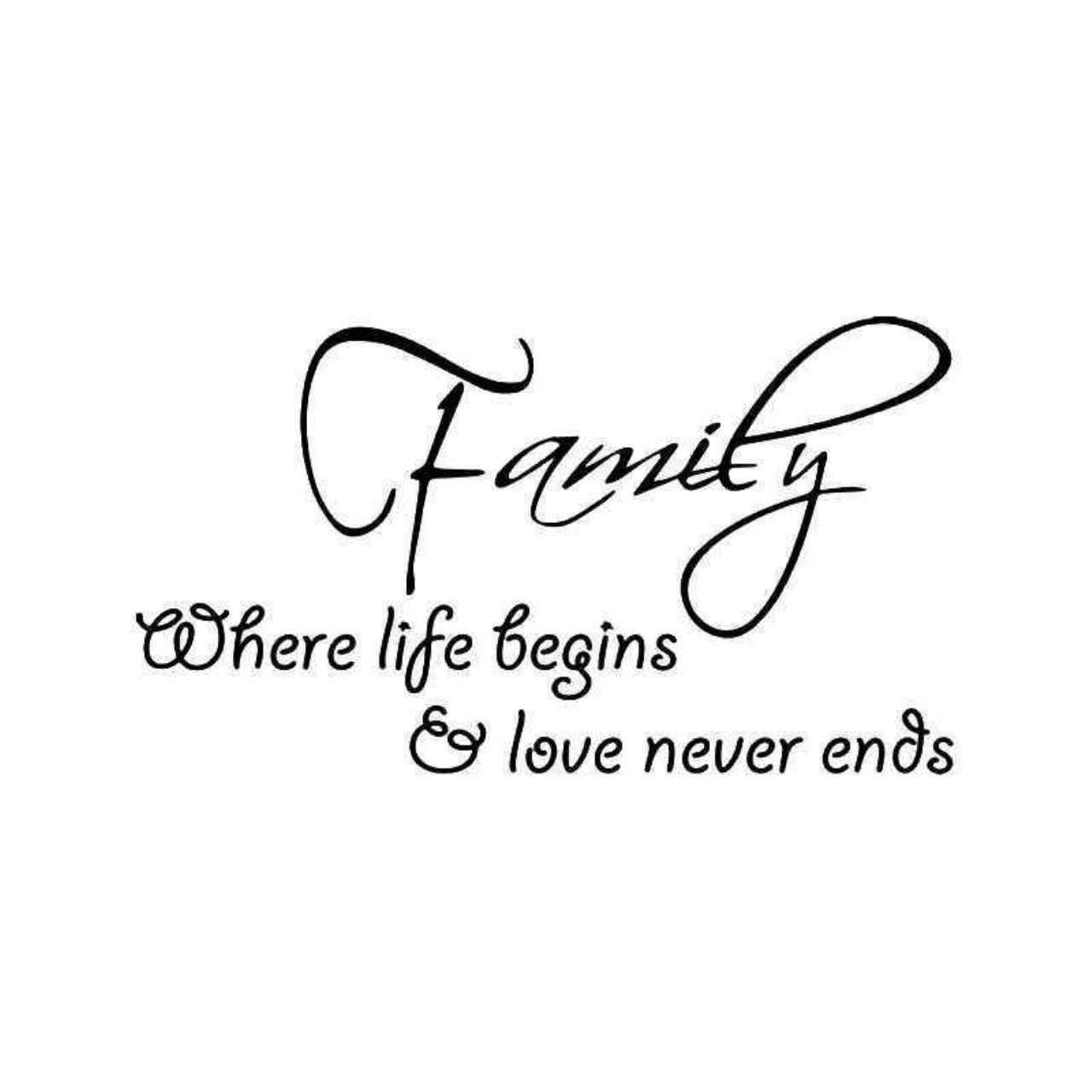 Family Life Begins Love Never Ends Sticker
