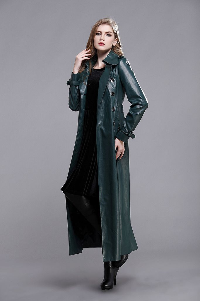 Long green leather trench coat and boots | Leather Fashion ...