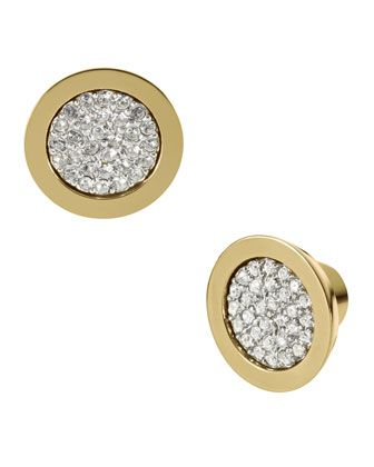 Michael Kors Pave Slice Studs, Golden.
