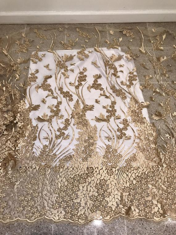 "Gold embroidery lace fabric 50"" width sold by the yard"