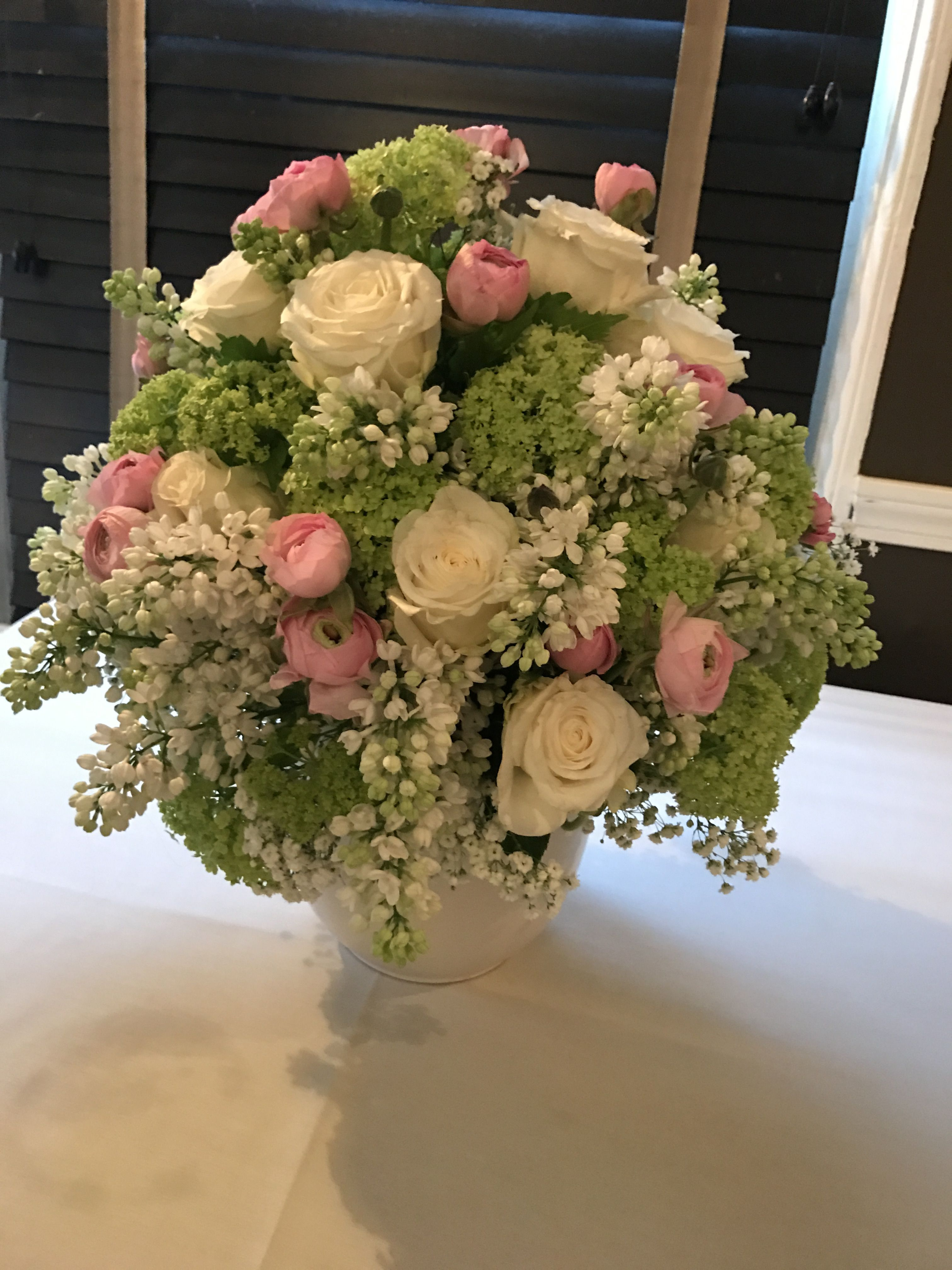 Pink Light Green And White Flower Arrangement For Baptism