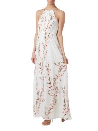 JAKES-COCKTAIL Abendkleid mit Kirschblüten-Prints in Weiß online ...