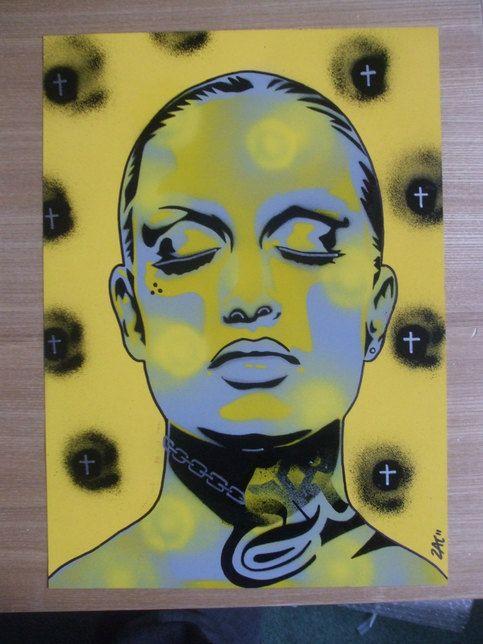 Tattooed woman painting,skin deep series,stencils art,spray paint ...