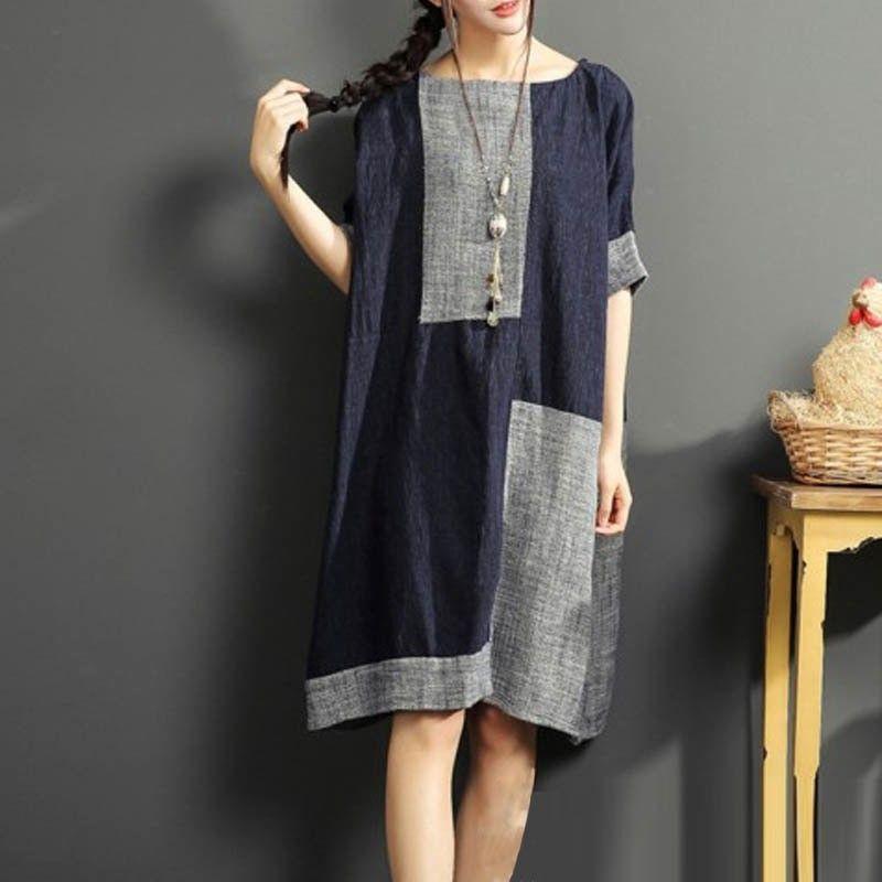 d0d654e07012 2018 ZANZEA Summer Women O Neck Short Sleeve Patchwork Vintage Cotton Linen  Knee-Length Dress Party Baggy Vestido Plus Size
