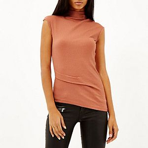 Coral ribbed asymmetric top