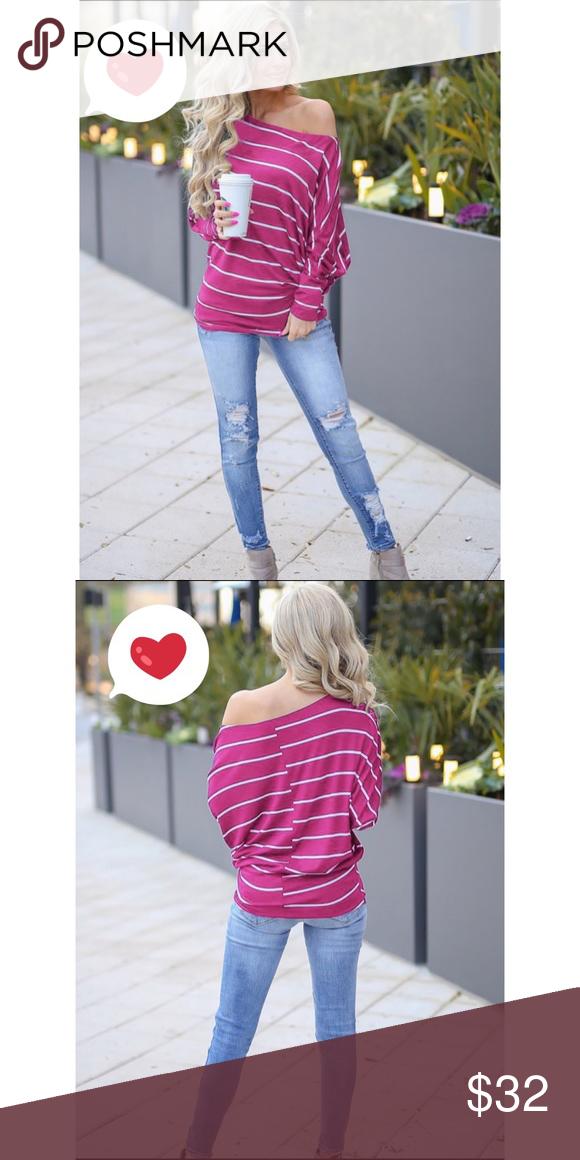 56ddaa3427a Casual Off Shoulder Bat Sleeve Striped Loose T-shirt. Boutique Tops Tees -  Long Sleeve