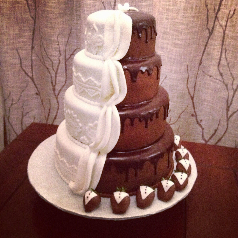 Half And Half Marble Chocolate Covered Strawberry Wedding Cake Chocolate Wedding Cake Cake Wedding Cake Vanilla