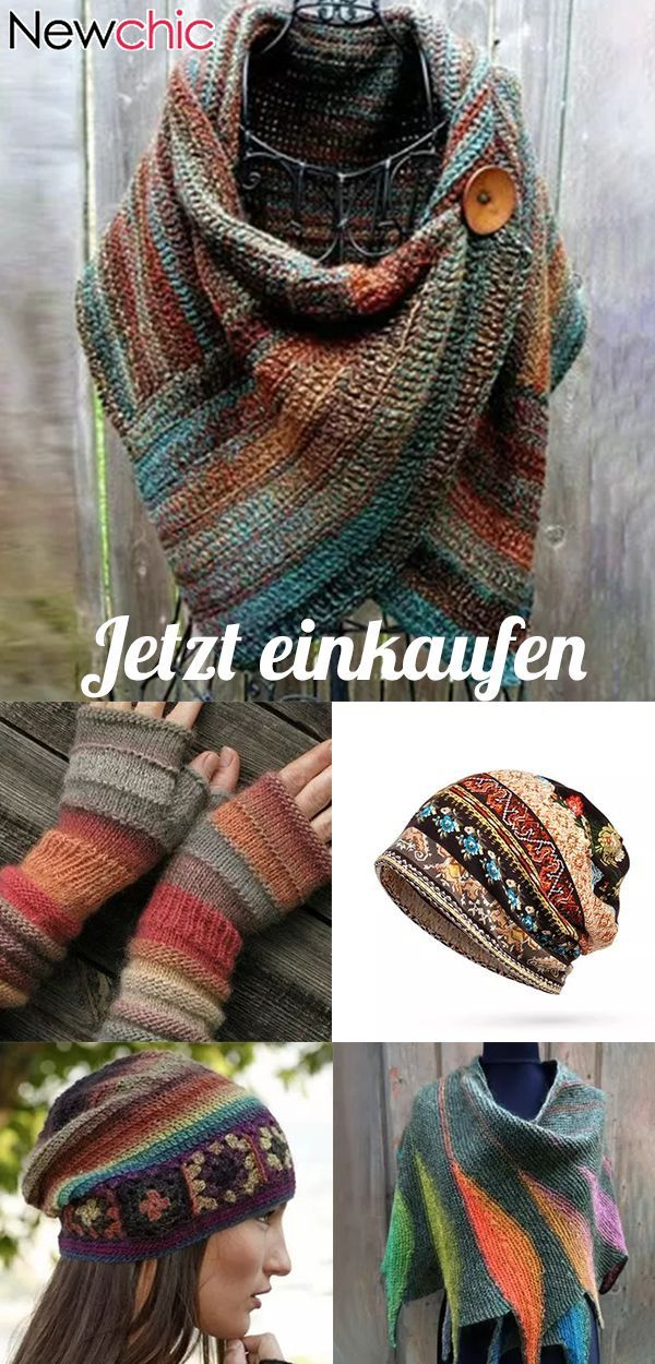 jetzt kaufen|Damen Casual Multicolor Stripes Rundhals Schals & Tücher Crochet Wrap Pattern - New Ideas #scarvesamp;shawls